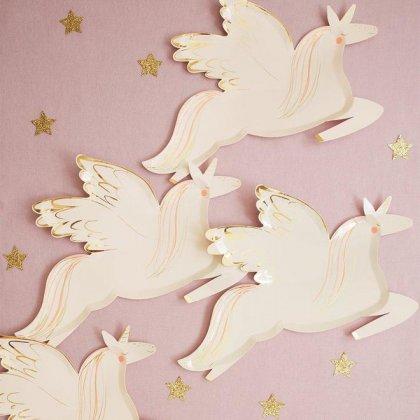 Lėkštės šventei Winged Unicorn (8 vnt.)