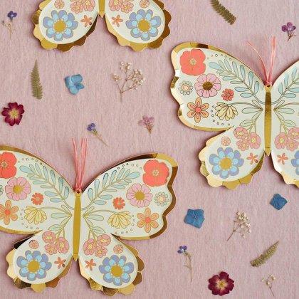 Lėkštės šventei Floral Butterfly (8 vnt.)